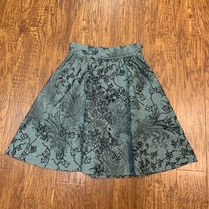 Tibi teal and black embroidered skirt size 4